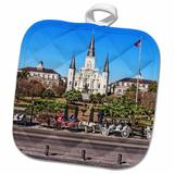 3dRose Saint Louis Cathedral in New Orleans French Quarter Potholder Cotton in Blue/Brown/Gray, Size 10.0 W in   Wayfair phl_239373_1
