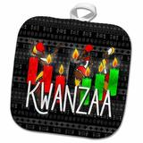 3dRose Kwanzaa African American Dancers & Kinara Candles Potholder Polyester/Cotton in Black/Green/Red, Size 10.0 W in | Wayfair phl_244707_1