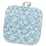 3dRose Damask Fancy Stylish Swirly Elegant Sophisticated Royal Classy French Floral Potholder Cotton in Blue, Size 10.0 W in   Wayfair phl_151408_1