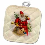 3dRose Llustration of African American Santa Claus Potholder Cotton in Brown/Green/Red, Size 10.0 W in | Wayfair phl_62169_1
