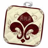 3dRose Fleur De Lis French Decor Beige & Burgundy Potholder Polyester/Cotton in Brown/Red, Size 10.0 W in   Wayfair phl_220628_1