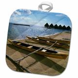 3dRose Outrigger Canoe Boats Moorea French Polynesia Douglas Peebles Potholder Polyester/Cotton in Blue/Brown/Yellow, Size 10.0 W in   Wayfair