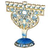 "Matashi Crystal Doves & Flowers Design Menorah, Crystal in Blue, Size 3""H X 2""W X 4""D | Wayfair MTMNR3351"