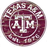 Fan Creations NCAA Distressed Round Sign Wall Decor Wood in Brown, Size 24.0 H x 24.0 W in   Wayfair C0659-Texas A&M