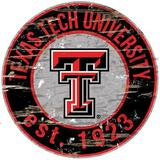 Fan Creations NCAA Distressed Round Sign Wall Decor Wood in Brown, Size 24.0 H x 24.0 W in   Wayfair C0659-Texas Tech