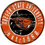 Fan Creations NCAA Distressed Round Sign Wall Decor Wood in Brown, Size 24.0 H x 24.0 W in   Wayfair C0659-Oregon State