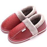 Women's Men's Winter House Warm Plush Slippers Suede Indoor Outdoor Casual Slip On Shoes Memory Foam Anti-Skid Rubber Sole Mules Clogs (8 Women / 7 Men, G-Red)