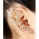 Ella & Elly Women's Earrings Goldtone - Crystal Butterfly Ear Cuff