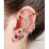 Ella & Elly Women's Earrings Goldtone - Jewel-Tone Crystal Peacock Ear Cuff