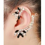 Ella & Elly Women's Earrings Black - Black Rhinestone & Goldtone Ear Cuff