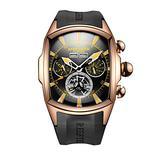 Reef Tiger Sport Watches for Men Rose Gold Tone Tourbillon Automatic Watch Rubber Strap RGA3069 (ZRGA3069-PBBG)