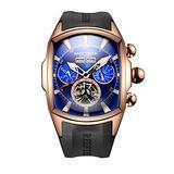 Reef Tiger Sport Watches for Men Rose Gold Tone Tourbillon Automatic Watch Rubber Strap RGA3069 (ZRGA3069-PLB)