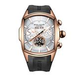 Reef Tiger Sport Watches for Men Rose Gold Tone Tourbillon Automatic Watch Rubber Strap RGA3069 (ZRGA3069-PWB)