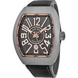 Franck Muller Vanguard Mens Titanium Automatic Watch - Tonneau Grey Face with Luminous Hands, Date and Sapphire Crystal - Swiss Made with Arabic Numerals V 45 SC DT TT BR 5N