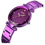 Women's Dress Quartz Luxury Casual Lady Waterproof Stainless Steel Fashion Rhinestones Girls Wristwatch (Purple)