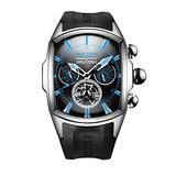 Reef Tiger Luminous Sport Watch for Men Tourbillon Analog Automatic Watches Rubber Strap RGA3069 (ZRGA3069-YBBL)
