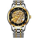 Luxury Automatic Mechanical Gold Dragon Watch Mens Chinese Style Watches Stainless Steel Waterproof Watch (Silver Black)