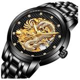 Luxury Automatic Mechanical Gold Dragon Watch Mens Chinese Style Watches Stainless Steel Waterproof Watch (Black)