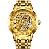 Luxury Automatic Mechanical Gold Dragon Watch Mens Chinese Style Watches Stainless Steel Waterproof Watch (Gold)