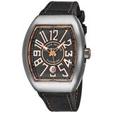 Franck Muller Vanguard Mens Titanium Automatic Watch - Tonneau Grey Face with Luminous Hands, Date and Sapphire Crystal - Brown Rubber Band Swiss Made Watch for Men V 41 SC DT TT BR 5N