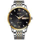 Men Self Winding Mechanical Automatic Watch Crystal Roman Dial Gold Silver Stainless Steel Two Tone Watch (Two Tone Black)