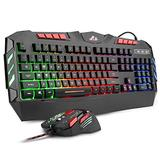 Rii RGB LED Backlight Wired Gaming Keyboard and Mouse Combo,PC Gaming Keyboard,Office Keyboard for Windows/Android/Mac/Xbox/PC/Laptop/Andriod TV Box/HTPC,Business Office