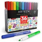 Arteza Dry Erase Markers, Pack of 36 (with Fine Tip), 12 Assorted Colors with Low-Odor Ink, Whiteboard Pens, Office Supplies for School, Office, Home