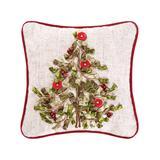 C&F Throw Pillows Natural - Ribbon-Applique Tree Linen-Blend Throw Pillow