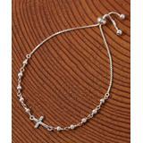 Yeidid International Women's Bracelets - Sterling Silver Cross Beaded Adjustable Bracelet