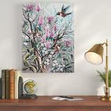 Charlton Home® 'Hummingbird Tapestry' Acrylic Painting Print on Wrapped Canvas Canvas & Fabric in Blue/Brown/Gray, Size 24.0 H x 18.0 W x 2.0 D in
