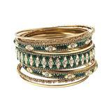 Amrita Singh Women's Bracelets Emerald - Green Crystal & Goldtone Keya Bangle Set