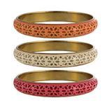 ZAD Women's Bracelets cream - Orange & Fuchsia Floral Cutout Bangle Set