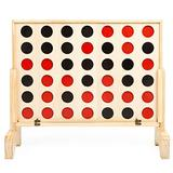 Play Platoon Giant 4 in a Row Wooden Drop Four Connect Board Game Outdoor Game with Coins, Case and Rules