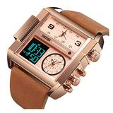 Men Alarm Military Leather Square Multifunction Waterproof LED Electronic Digital Analog 3 Times Watch (Rose Gold Brown)