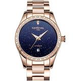 Women Automatic Watch Rose Gold Stainless Steel Case Band Waterproof dial Luminous Blue Dial Watches (Rose Gold/Blue)