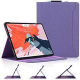 Skycase iPad Pro 12.9 Case 2018, iPad Pro 12.9 3rd Generation Case, [Support Apple Pencil Charging] Auto Dormancy Canvas Multi-Angle Viewing Stand Folio Case for Apple iPad Pro 12.9 inch 2018, Purple