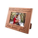 Love Never Fails, Personalized Picture Frame   4x6   Personalized Romantic, Wedding - Couple Photo Frame, Engagement, Valentine's Day, Wedding Gifts for Couple, Engraved Frames D#5