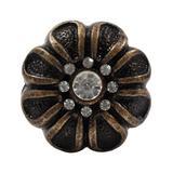 Dritz Cabinet Knobs - Bronzetone Rhinestone Flower Cast Iron Knob - Set of Four