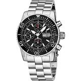 Revue Thommen Automatic Chronograph Dive Watch - 45mm Black Face with Luminous Hands, Day, Date, Tachymeter Scale and Divers Bezel - Swiss Made All Stainless Steel Waterproof Diving Watch 17030.6134