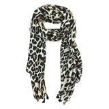 East Cloud Women's Accent Scarves BlackWhite - White Leopard Scarf