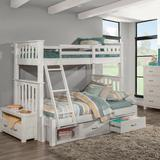 Highlands Harper Twin Over Full Extension Bunk Bed w/ Storage Unit in White Wood - Hillsdale 12055NS