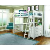 Highlands Twin Loft Bed w/ Hanging Nightstand in White Wood - Hillsdale 12070NHN