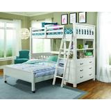 Twin Loft Bed w/ Full Lower Bed in White Wood - Hillsdale 12070NLFB