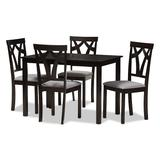 Baxton Studio Modern Gray Upholstered Chair & Table Dining 5-piece Set, Grey