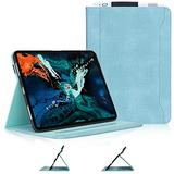 Skycase iPad Pro 11 Case (2018), [Support Apple Pencil Charging] Auto Dormancy Canvas Multi-Angle Viewing Stand Folio Case for Apple iPad Pro 11 inch 2018 Release Version, with Card Holder, Mint Green