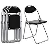 Giantex 6 PCS Folding Chairs Set with Padded Seats and Carrying Handle for Desks Home Office Waiting Room Guest Reception Party Conference Chair Set,Black