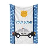 """Personalized Custom Police Car Fleece and Sherpa Throw Blanket for Boys, Girls, Kids, Baby - Toddler Police Car Blankets Perfect for Bedtime, Bedding or as Gift (60"""" x 80"""" - Adult)"""