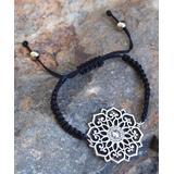 Boho Treasures by Wise Creations Women's Bracelets SILVER, - Silvertone & Black Mandala Bracelet