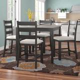 Lark Manor™ Fruge 5 - Piece Counter Height Solid Wood Acacia Dining Set Wood/Upholstered Chairs in Black/Brown/Gray   Wayfair