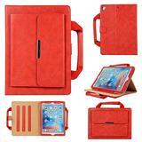 Uliking Folio Case for Apple iPad Mini 4/Mini 3/Mini 2/Mini 1 Handbag Case, Smart Multi-Angle Stand PU Leather Document Pocket Magnetic Cover with Handle Hand Strap [Auto Wake/Sleep] + Stylus, Red